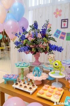 Monster Inc Party, Monster Birthday Parties, Monsters Inc Decorations, Party Food And Drinks, It's Your Birthday, Party Activities, Paint Party, Diy Party, Party Planning