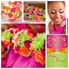 Fuchsia Pink Orange And Lime Green Wedding Color Scheme