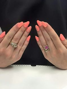 Peach Nails With Diamonds Down The Ring Finger