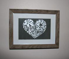 Heart thank you papercut - Framed
