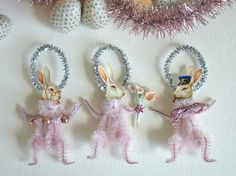 Vintage Style Chenille Pipe Cleaner Stem * DIY White Rabbit * Easter Bunny Trio * Ornament Inspiration