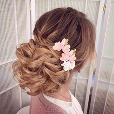 long messy wedding hairstyle updo with pink flowers via antonina roman - Deer Pearl Flowers / http://www.deerpearlflowers.com/wedding-hairstyle-inspiration/long-messy-wedding-hairstyle-upfo-with-pink-flowers-via-antonina-roman/