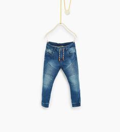 Plush biker jeans
