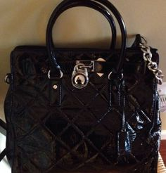 MICHAEL KORS Large Hamilton Tote Quilted Black Patent Leather $398
