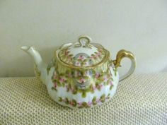 Nippon Hand Painted Pink Roses Tea Pot with Gold