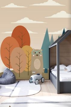 Bear in Forest Wall Mural Removable Wallpaper Kids Mural, Peel & Stick Animal Wallpaper Childrens Mural Peel 'n Stick Wall Paper Remove - Healty fitness home cleaning Forest Wallpaper, Vinyl Wallpaper, Animal Wallpaper, Peel And Stick Wallpaper, Nursery Wallpaper, Murals For Kids, Washable Paint, Focal Wall, Temporary Wallpaper