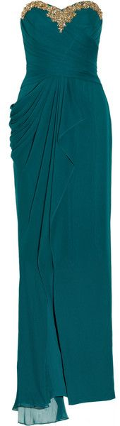 Notte By Marchesa Embellished Draped Silk Chiffon evening Gown in Green (teal blue with gold) | Lyst
