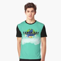 'Earth Day' Graphic T-Shirt by Melikar Men's Apparel, Earth Day, Vivid Colors, Female Models, Latest Trends, Shirt Designs, Mens Fashion, Hoodies, Cotton