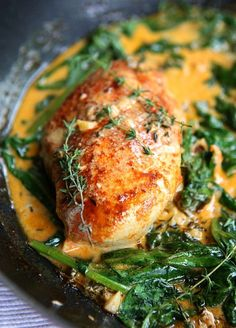 Paprika Chicken & Spinach with White Wine Butter Thyme Sauce | thekitchenpaper.com