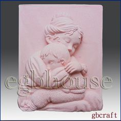"""2D silicone Soap/polymer/clay/cold porcelain mold- Mother Cradle Her Child- free shipping -""""Buy only from the original designer by egbhouse on Etsy https://www.etsy.com/listing/183937058/2d-silicone-soappolymerclaycold"""