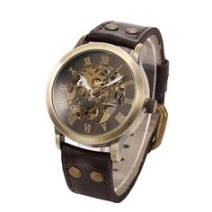 Men's Steampunk Bronze Auto Leather Watch