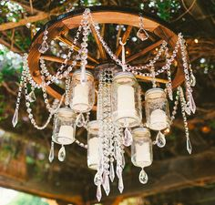 DIY CHANDELIER  http://www.weddingchicks.com/2015/05/29/laid-back-country-wedding/