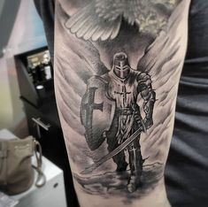 Tattoos are an integral part of society, with many people sporting one or more tattoos on their body, it is certain that these tattoos can be significant for many people and cultures from around th… God Tattoos, Warrior Tattoos, Body Art Tattoos, Tattoos For Guys, Angel Warrior Tattoo, Tatoos, Soldier Tattoo, Gladiator Tattoo, Armor Of God Tattoo