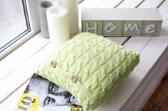 Decorative square pillow knitted light-green от TheRootsoftheSoul