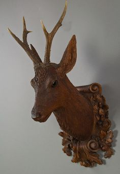antique black forest carved wood deer head by madel & son