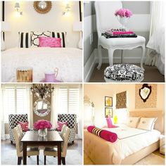 Black + White, Pink + Gold Bedroom Design Inspiration www.thesouthernthing.com