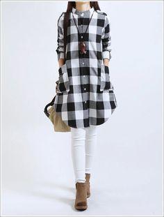 c26a33d1ec 2015 primavera outono Blusas coreano fina tamanho grande roupas femininas  folgada camisa xadrez de algodão de