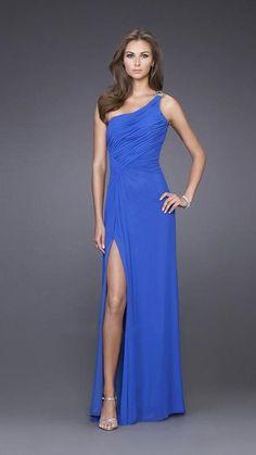 La Femme One Shoulder Elegant Prom Gown 15417