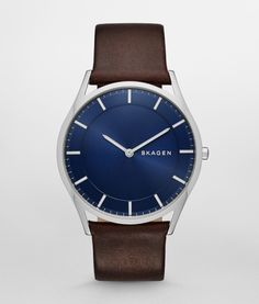 SKAGEN Gents Midnight Blue Dial & Brown Leather Strap Watch