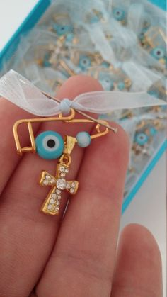 Baby boy baptism pins Evil eye pins Rhinestone cross martyrika on safety pins Martirika mati Baptism guests favors greek baptism favors boy by eAGAPIcom on Etsy
