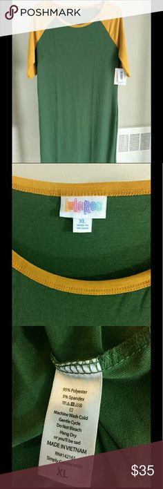 Lularoe Julia XL NWT Lularoe Julia XL NWT.  Re-posh as Julias are not for me after all!  Green and gold, perfect for any Packer fan! LuLaRoe Dresses Midi