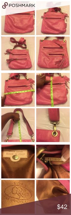 """Original Avorio made in Italy designer C--body Bag ***AVORIO*** Crossbody Handbag for women. Pink color,  Gold tone hardware, 3 outside zippers and one inside zipper pockets. For  Appx measurements and length of adjustable strap please see photos attached here. Strap length in photos is folded so full length should be double- about 25"""". Pre-Owned with Very clean interior. No hold and no trades. Avorio made in Italy Bags Crossbody Bags"""