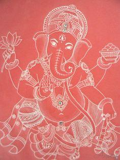 Sri Ganesha - drawing on parchment (pergamen paper), adorned with rhinestones.