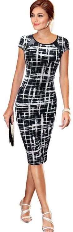 Women Work Dress Women Elegant Print Short Sleeve Casual Business Office Sheath Pencil Dr