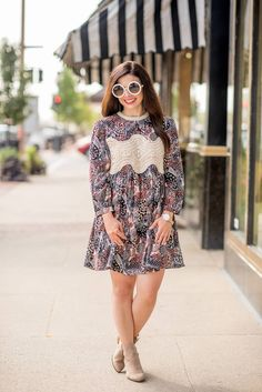 Perfect fall dress and booties // Bay City, Michigan // via theHSSfeed.com