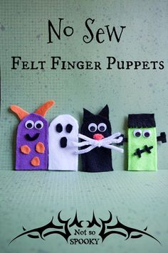 No Sew Felt Finger Puppets For Halloween Dramatic Pretend Play And Story Time These Are