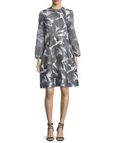 Bishop-Sleeve+Palm-Print+Dress,+Charcoal+by+Co+at+Bergdorf+Goodman.