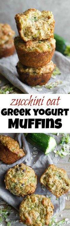 You won't find any butter or oil in these ridiculously soft and tender Zucchini Oat Greek Yogurt Muffins! They're naturally sweetened and perfect for breakfast or healthy snacking. | runningwithspoons (Bake Squash Greek Yogurt)