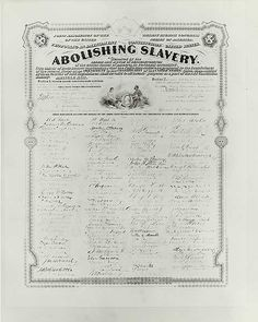 Here is a photograph of the Thirteenth Amendment which was passed in 1865. This amendment abolished slavery.