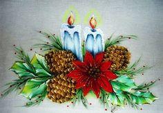 Pintura em Tecido de Natal Velas e pinhas com passo a passo - Pintura em Tecido Passo a Passo Com Fotos