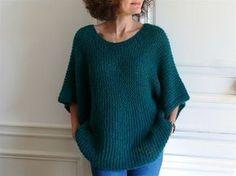 Pull Lou Bee made en Brushed Alpaca silk de Drops tuto Crochet Woman, Knit Crochet, Crochet Pattern, Pullover, Crochet Clothes, Knitwear, Knitting Patterns, Bee, Point Mousse