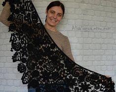 Oversized scarf Black wedding Gothic style flower Goth Witch accessories Dark Victorian Knitted shawls Triangle Irish crochet Warm shawl