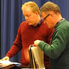 Our MD, David, and accompanist, Kevin, discuss the music for our choir rehearsal. Birmingham Festival Choral Society. #choir #choralsociety #singing #hobbies #birmingham