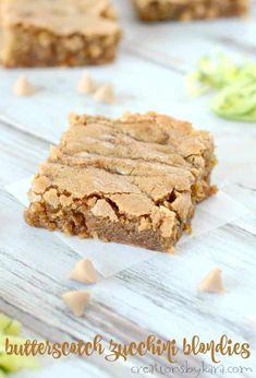Rich and chewy, these Butterscotch Zucchini Blondies are sure to be a favorite. A seriously tasty way to use up your zucchini! Köstliche Desserts, Delicious Desserts, Dessert Recipes, Potluck Recipes, Party Recipes, Summer Desserts, Sweet Desserts, Yummy Food, Zucchini Bars