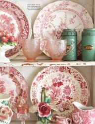 Classic, cheerful shades of pink, red and aqua china and glassware.