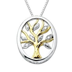 "Sterling Silver and 14k Yellow Gold 18"" Diamond Tree Of Life Pendant. From Amazon.com. (LOVE THIS!!!) Sale Price: $101.99"