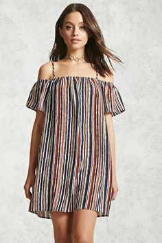 A woven mini dress featuring a striped pattern, an open-shoulder design, self-tie cami straps, and short sleeves.