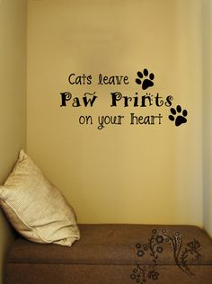 Cats leave Paw Prints on your heart - Family wall Decals - Wall Decal - Wall Vinyl - Wall Decor - Decal - cat Wall Decal $16.00