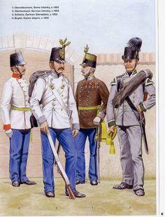 1:Oberstleutnant,Grenz infantry,c.1855.2:Oberleutenant,German infntry,c.1855.3:Schutze,,German Grenadiers,c.1853.4:Bugler,Kaiser-Jagers,c.1855.