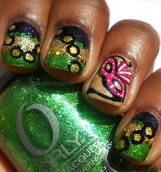 Haute Lacquer: Mardi Gras Inspired check out www.MyNailPolishObsession.com for more nail art ideas.