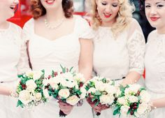 Simple but pretty posies from a stylish 1940s inspired wedding