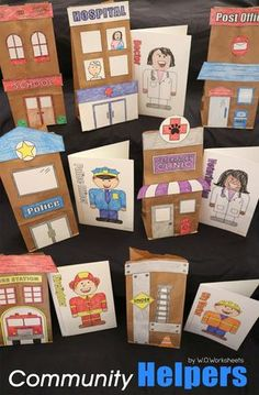 Community Helpers Preschool Discover Community Helpers Activity Craft Build a community for your community helpers social studies unit with these easy to cut and ensemble crafts and writing prompts. Community Helpers Activities, Community Helpers Kindergarten, Kindergarten Crafts, Preschool Crafts, Creperia Ideas, Social Studies Communities, Communities Unit, Community Workers, Preschool Activities