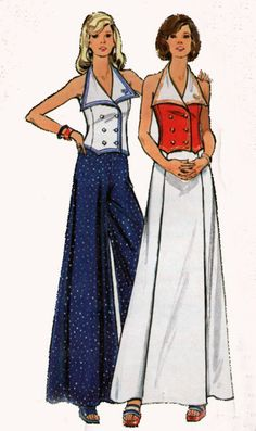 Butterick 3087 70s Halter Top with Sailor Collar and Palazzo Pants or Maxi Skirt