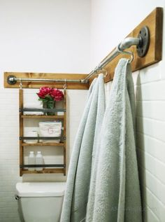 DIY pipe wood organizer hang stuff off the walls S hooks towels bar industrial farmhouse style cute free plans tutorial http://ANA-WHITE.com
