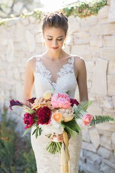 Modern Fuchsia and Gold Bridal Bouquet | Carlie Statsky Photography | Luxe Bohemian Wedding in Jewel Tones Luxe Wedding, Mod Wedding, Wedding Beauty, Red Rose Wedding, Jewel Tone Wedding, Floral Wedding, Bridal Beauty, Wedding Bouquets, Wedding Colors