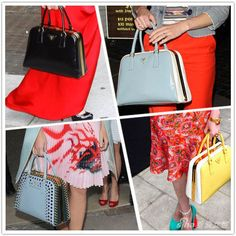 prada saffiano purse forum - Bowling-style Prada Pyramid Frame handbag. Love the green dress ...